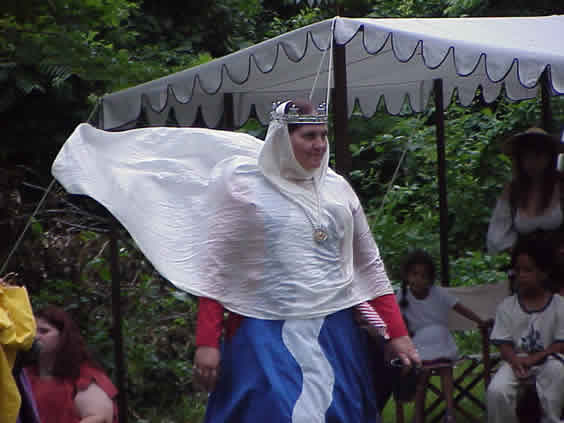 Mistress Johanna, her veil blowing in the wind