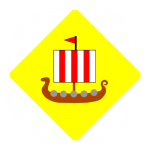 (Fieldless) On a lozenge Or within and conjoined to an annulet argent a drakkar proper under a full sail argent, charged with three pallets gules