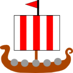 a drekkar with 3 red stripes on its sail