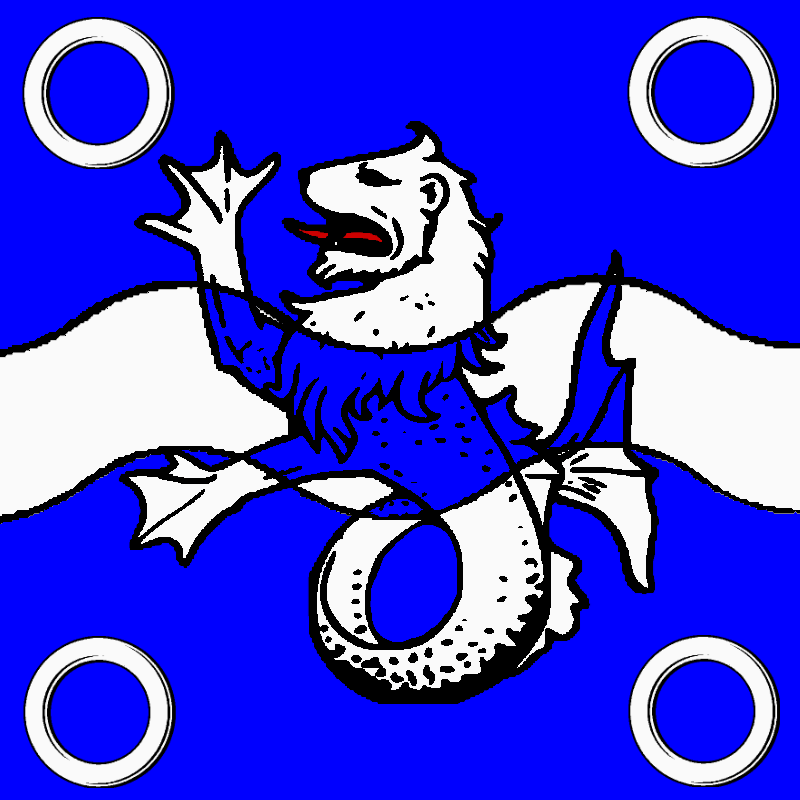 Azure, a fess wavy argent surmounted by a sea-lion erect counterchanged between four annulets in saltire argent