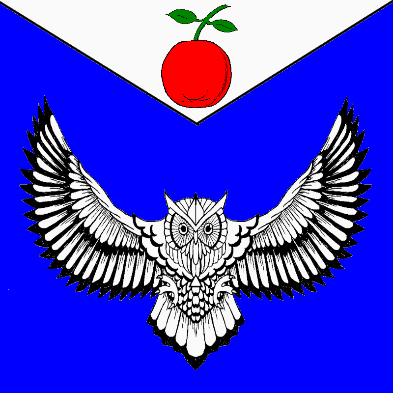 Azure, an owl displayed and on a chief triangular argent an apple gules