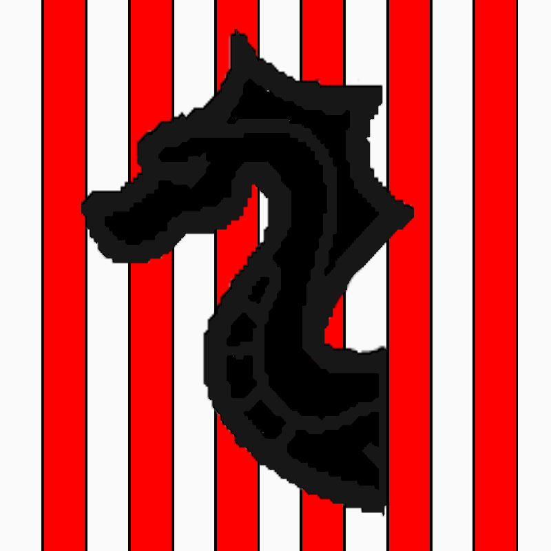 Paly argent and gules, a drakkar prow sable