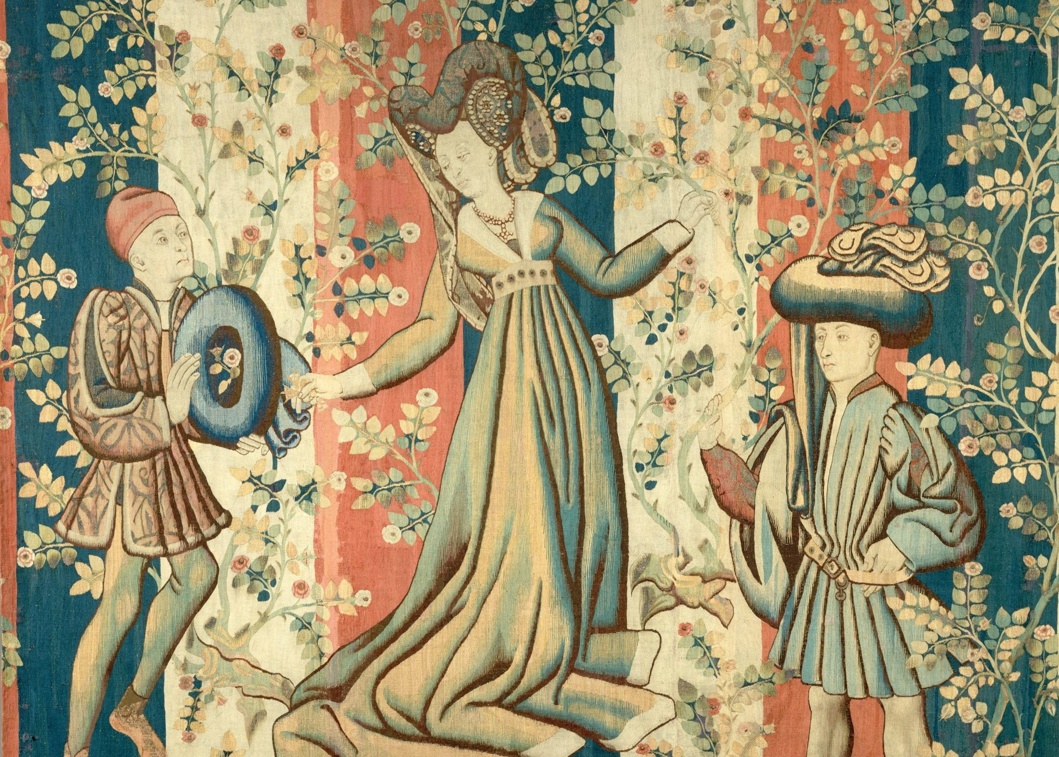 Courtiers in a Rose Garden: A Lady and Two Gentlemen, Tapestry, ca. 1440–50, South Netherlandish
